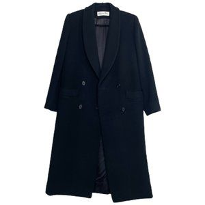 CHRISTIAN DIOR Vintage Double-Breasted Long Wool Coat in Black | Size 6
